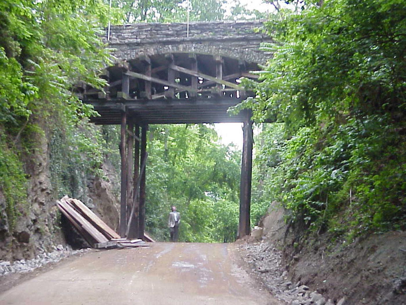 Helens's Bridge Shored for DOT I240 blasting